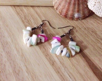 Chip Shell Earrings - White, Pink, Blue, Yellow, Green and Gunmetal