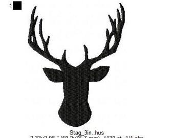 Embroidered Woodland Stag Silloette Design