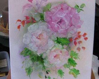 Signed Roses Oil Painting Shabby/Cottage Chic