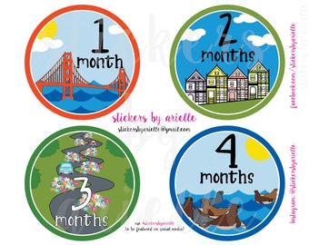 Month by Month Baby Stickers - San Francisco Theme