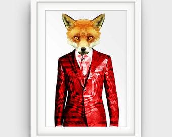 Geometric Fox, Fox Art, Fox Print, Fox Decor, Fox Painting, Fox Art Print, Fox Illustration, Animal Print, Geometric Animal Art Gift for Him