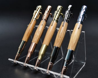 Whiskey Barrel Bolt Action Bullet Pen in Gold, Gunmetal, Copper, Brass or Chrome Finish with Velvet Pouch