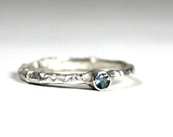 Aquamarine Sterling Silver Band