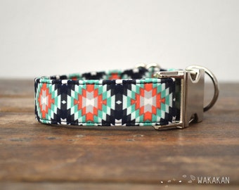 Aztec dog collar adjustable. Handmade with 100% cotton fabric. Coral and turqoise colors. boho style Wakakan