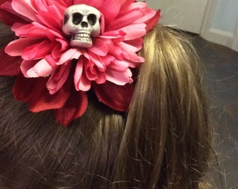 Large Pink Flower and Skull Hairclip