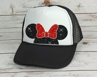 Disney Trucker Hat Minnie Mouse Bow // Cinderella Castle // Princess // Minnie Mouse Ears // Mickey Mouse (TRUCKER HAT)