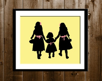 3 Sisters Silhouette Art, Valentine's Day Gift, 3 Daughters Silhouette Art, Custom Silhouette Print, Mother's Day Print, Silhouettes, 8x10