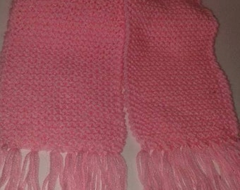 Cotton candy pink knitted scarf