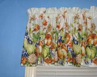 Orange Blue Vegetable Fruits Handmade Cotton OFF WHITE FLORAL Window Curtain Valance