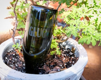 Gravity-Fed Plant Waterer   Customized Wine Bottle Waterer