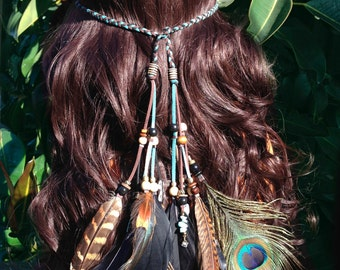 Black Emerald Boho Feather Headband, Feather Headdress, Native American Style