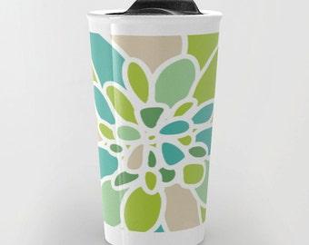 Green Dahlia Flower Travel Mug - Coffee Mug - Green Tan Blue Flower Petals Design Travel Mug - Aldari Home