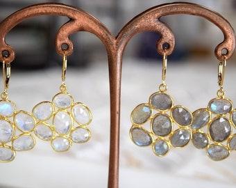 Flower Gemstone Earrings // 14K Gold Filled