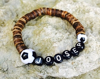 Name bracelet with footballs, Sports bracelet, Beaded wooden jewelry for kids, Personalized jewelry