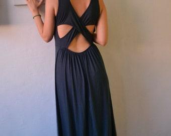 Bohemian long Maxi Dress with Open Back & Slits, the Priestess Dress, Gypsy Boho Chic Festival Goddess