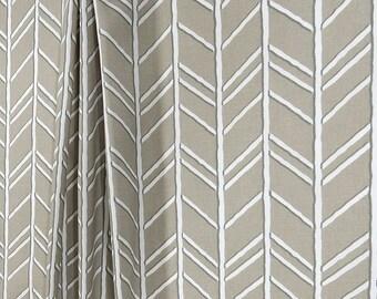 Taupe Grey Herringbone Fabric Designer Home Decor Fabric by the Yard Cotton Drapery Fabric Curtain Fabric Upholstery Fabric Taupe B455