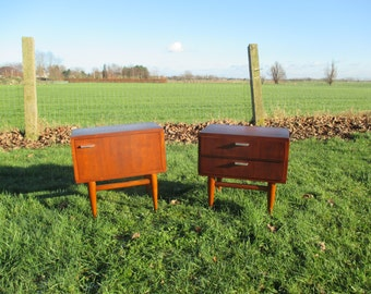Pair Nightstands Teak Mid Century Danish Modern style End tables Nice