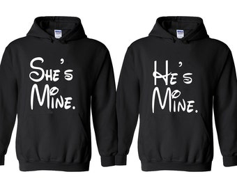 She is Mine He is Mine Cartoon LETTER Couple Hoodie Cartoon Couple Hoodies Shirt Super Fun Matching Couple Hoodies