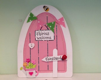 fairy door, pink, bunting, watering can, tiny letter from the fairies, birthday gift, tooth fairy, gift wrapped, can be personalised