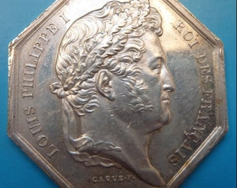 French Silver Medal of Louis Philippe Circa 1830. Awarded By The Royal Academy of Medicine. Superb Condition.