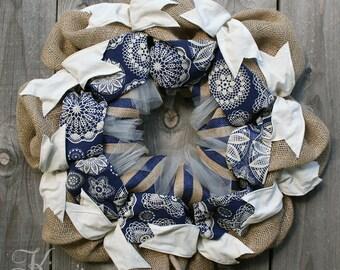 Blue Burlap Wreath - Navy Blue Wreath, Burlap and Ribbon Wreath, Country Home Wreath, Fall Burlap Wreath, Country Home Door Decor