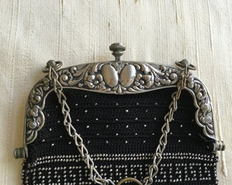 Edwardian purse with steel beads and ornate frame