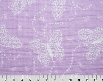 Flowerfly Lilac Embrace by Shannon Fabrics Swaddle Blanket Fabric Purple lavender butterfly