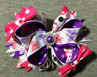 Purple and Pink Butterfly Custom Boutique Bow. Purple/Pink/Butterfly