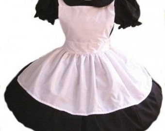 Goth Gothic Alice in Wonderland Black Dress and White Apron Lolita Cosplay Halloween Costume Womens Small Medium Large Xlarge