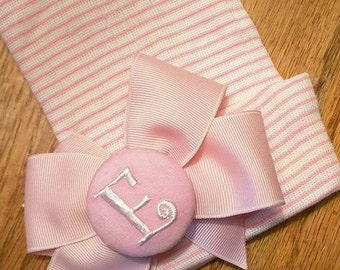 Monogramed Initial Button with Bow on Pink/White Stripe Newborn Hospital Hat With no scratch Mittens! 1st Keepsake!