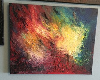 """SOLD! """"The Cathedral Burns""""; acrylic and feather painting"""