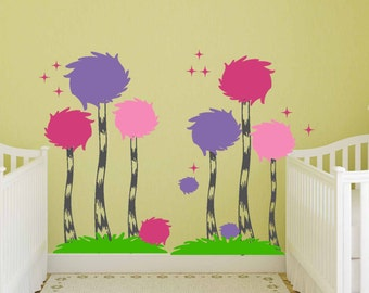 Truffula Trees - Dr. Seuss - Vinyl Wall Decal - Decor Nursery, Kids Room.