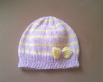 Bonnet birth to 1 month 100% cotton pink and yellow striped and yellow knit knot cotton