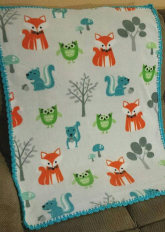 Woodland Animals Fleece Baby Blanket Forest Animals Crochet
