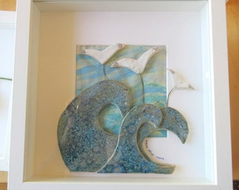 Coastal ceramic picture - seagulls and waves