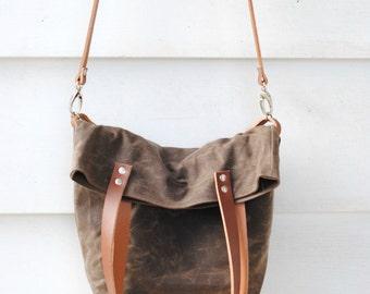 Waxed Canvas Foldover Tote Bag, dark oak, brown