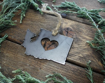 Washington Christmas Tree Ornament WA Metal State Heart Holiday Gift Industrial Decor Wedding Favor By BE Creations