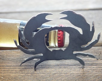 Metal Crab Bottle Opener Rustic Steel Recycled Industrial Travel Gift, wedding favor, Party gift, beer opener