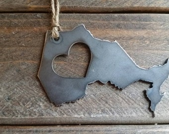 Ontario Love Christmas Ornament Metal State Heart Christmas Tree Ornament Holiday Gift Industrial Decor Wedding Favor By BE Creations