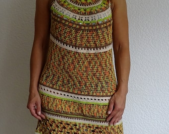 crochet dress, lace dress, green dress, summer dress, knitted dress, cotton dress,  beach dress, african, boho, ML size, ready to ship
