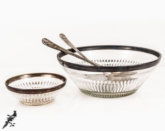 Vintage Silver Band Salad and Dressing Bowl / Chip and Dip Set Inverted Diamond Point Silverplate Salad Servers Mid Century Modern Mad Men