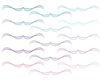 Swirl divider, Flourish divider clip art, swirl clipart dividers, wedding flourish, wedding swirl divider, Commercial Use, Instant Download