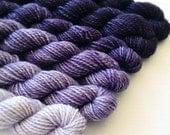 LOGWOOD 240 yard mini-skein set, High Twist Sock, superwash, merino, fingering weight, sock yarn, gradient, ombre