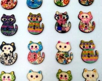 Wholesale bulk lot  1000pcs Flower cat    wood button , scrapbooing  DIY sewing birthday decoration  20x27mm