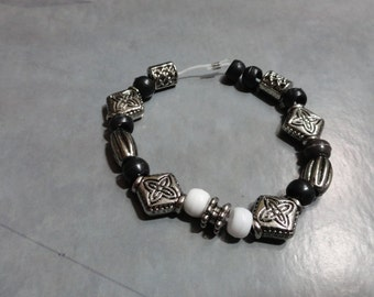 Black and Silver Bracelet with White Accents