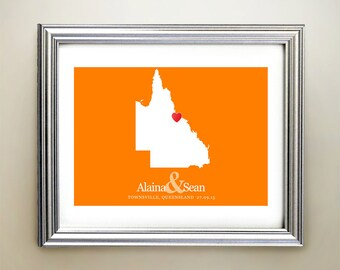 Queensland Custom Horizontal Heart Map Art - Personalized names, wedding gift, engagement, anniversary date