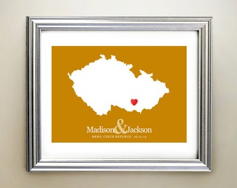 Czech Republic Custom Horizontal Heart Map Art - Personalized names, wedding gift, engagement, anniversary date
