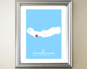 São Miguel Island Custom Vertical Heart Map Art - Personalized names, wedding gift, engagement, anniversary date