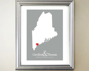 Maine Custom Vertical Heart Map Art - Personalized names, wedding gift, engagement, anniversary date