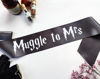 Harry Potter Sash -  Harry Potter Wedding - Muggle to Mrs sash - Bachelorette Sash - Bachelorette Party Accessory - Deathly Hallows sash